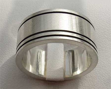 Wide Etched Silver Wedding Ring