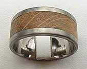 Wide Titanium & Wooden Wedding Ring