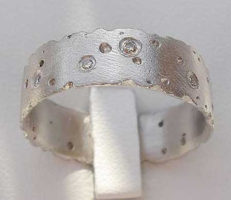 Womens Diamond Silver Wedding Ring