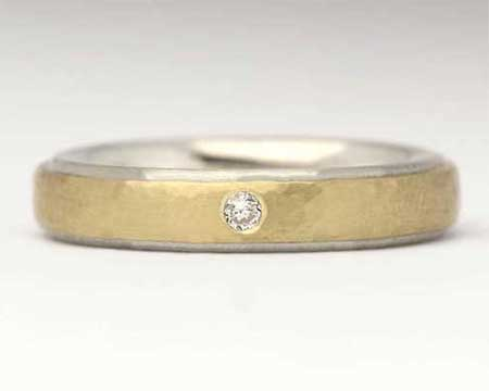 Womens Hammered Gold Diamond Wedding Ring