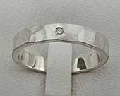 Women's Hammered Silver Diamond Wedding Ring