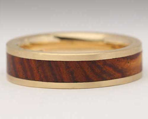 Wooden Inlaid Gold Wedding Ring